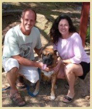 Jon and Cheryl Kittrell with their dog, Max